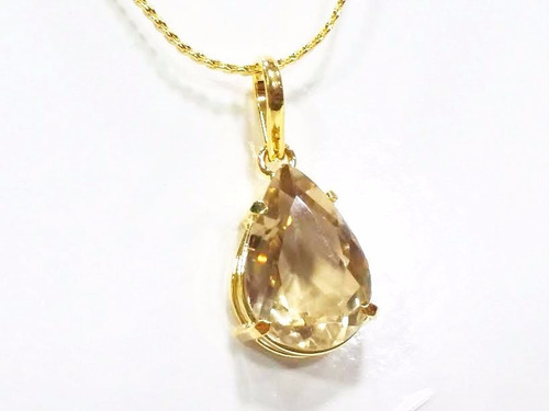 pingente+brincos pedra lapidada quartzo fumê cinza- ouro 18k