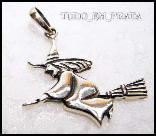 pingente bruxa em prata