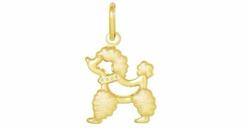 pingente cachorro poodle folheado a ouro 18k