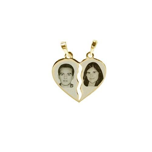 pingente cara metade de ouro c foto gravada - pacto de amor