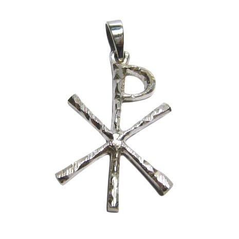 pingente chi-rho em prata - símbolo cristão/jesus/evangélico