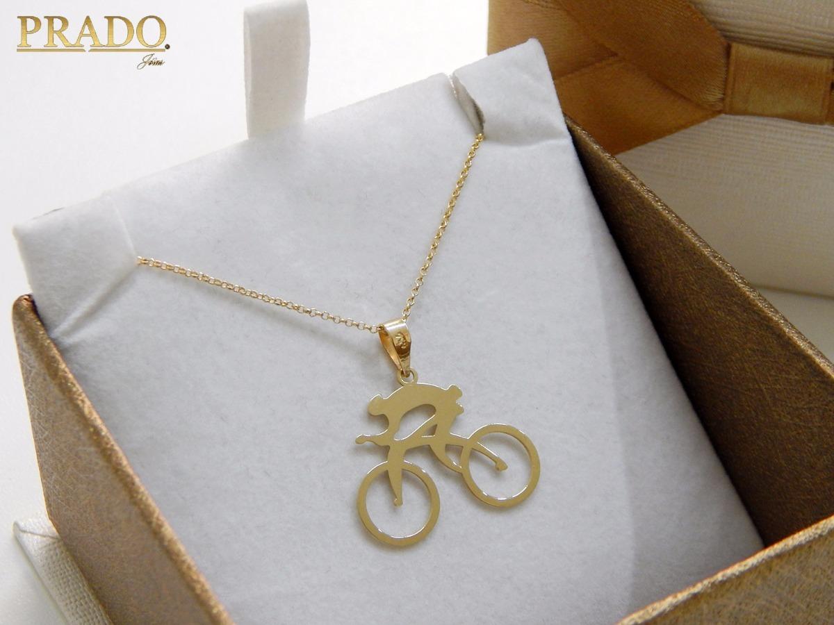 f190619549b Pingente Ciclista Com Corrente Portuguesa Em Ouro 18k - R  650