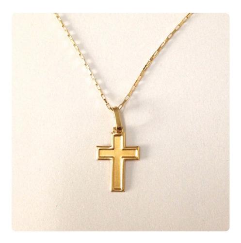 pingente clássico unissex cruz masculino e feminino ouro 18k