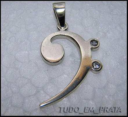 pingente clave de fa em prata com zircônias