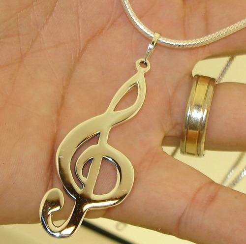 pingente clave de sol em prata 950k legítima amor a musica