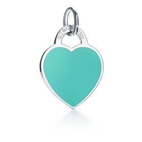 Pingente Coração Grande Prata 925 Cor Azul Tiffany