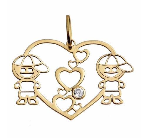 pingente coração 2 meninos em ouro 18k,frete grátis