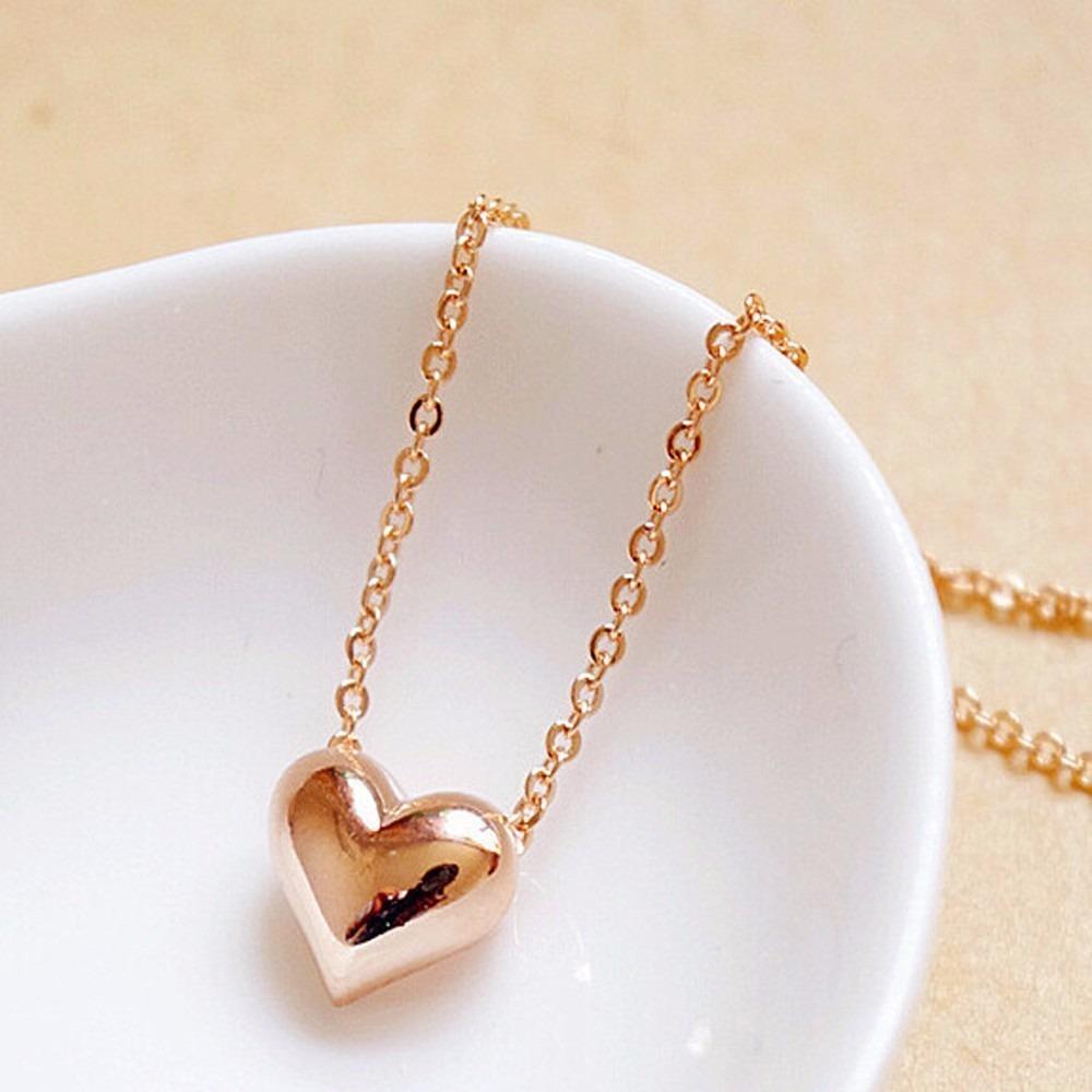 pingente coração colar feminino corrente folheado presente. Carregando zoom. eea1bafe94