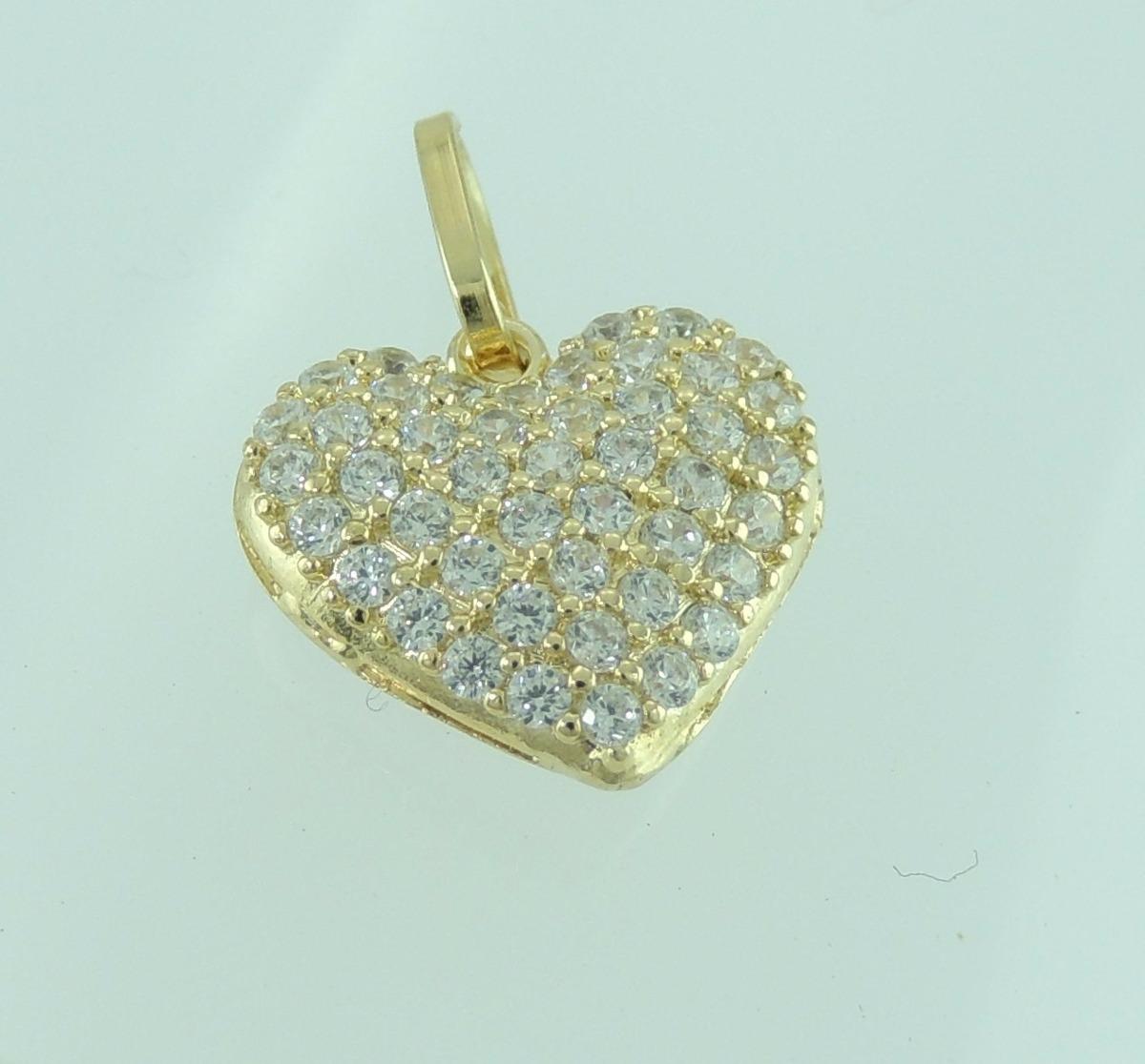 pingente coração com pedras de zirconia branca ouro 18k 750. Carregando  zoom. 754f173a05