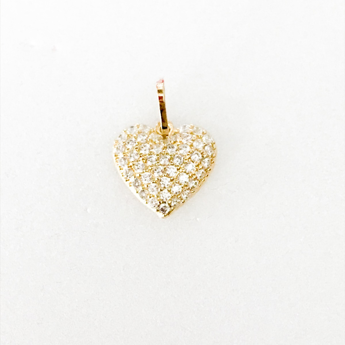 pingente coração cravejado pedras zircônias branca  ouro 18k. Carregando  zoom. 4de5afea9b