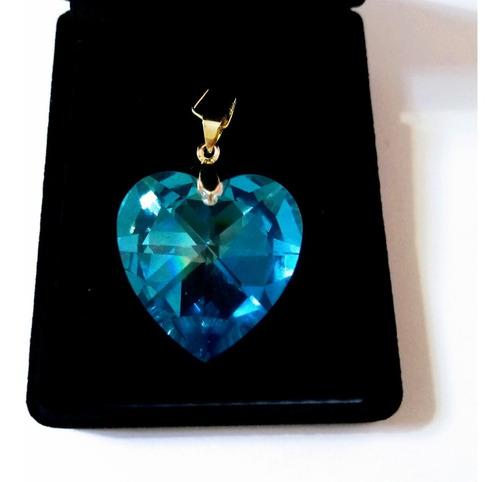 pingente coração cristal swarovski 2,8 cm folheado a ouro