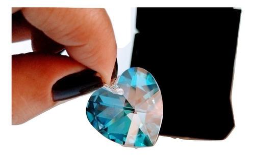 pingente coração cristal swarovski blue ab prata 925 - 2,0cm