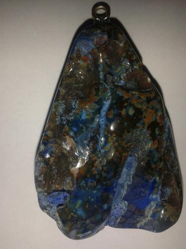 pingente coração de dragão ágata natural azul colar miçanga