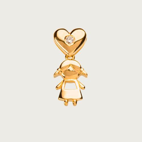 pingente coração menina em ouro 18k (750) com diamante