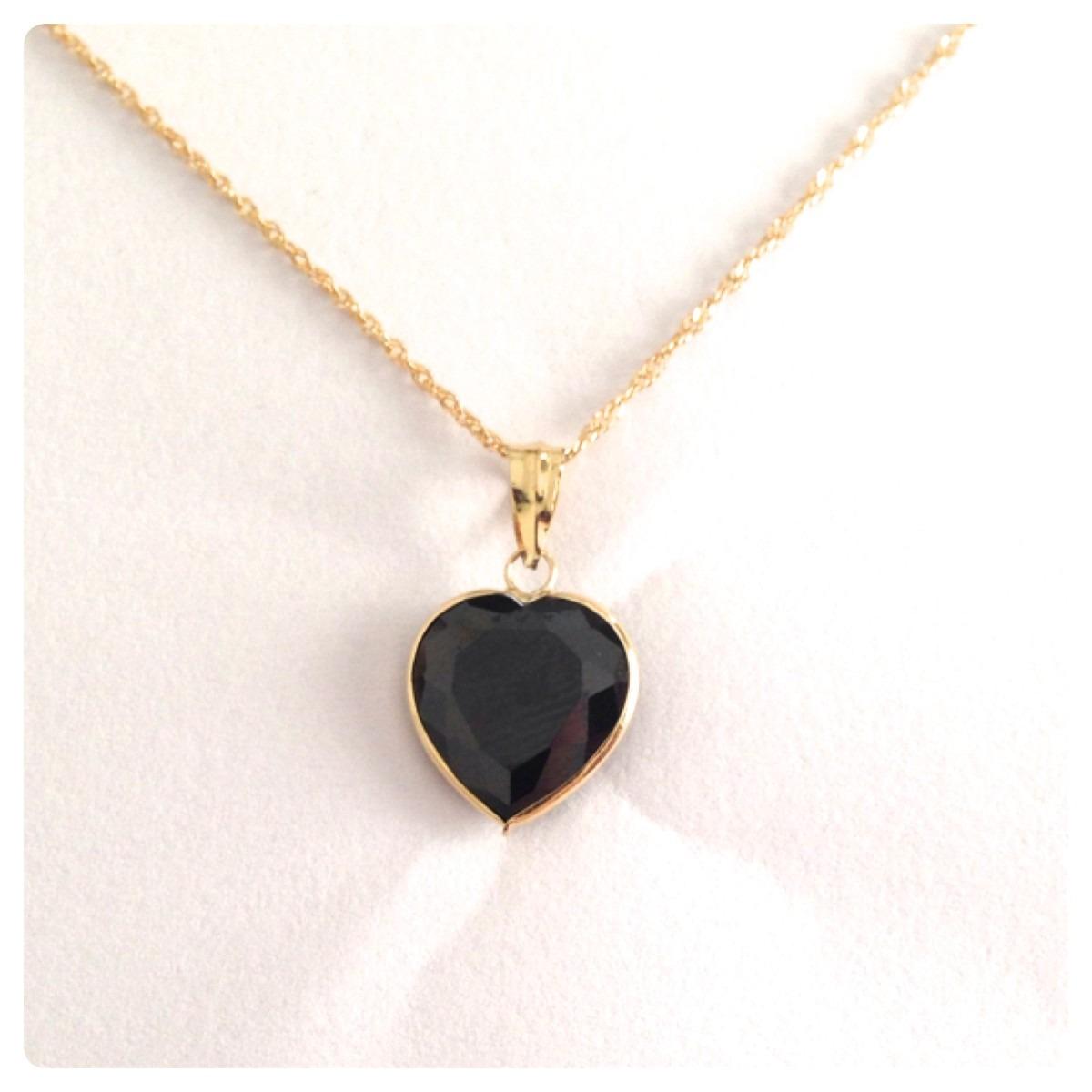 2a0e20cebd333 pingente coração ônix 10 mm joia linda ouro 18k certificado. Carregando  zoom.