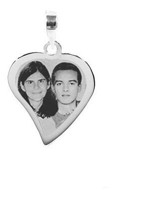 pingente coração ouro branco com foto gravada, casal, filhos
