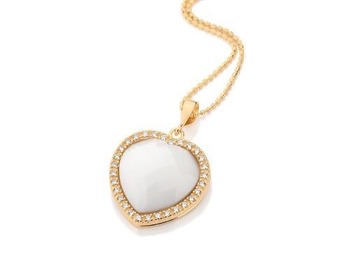 pingente coração pedra branca facetada rommanel 541570