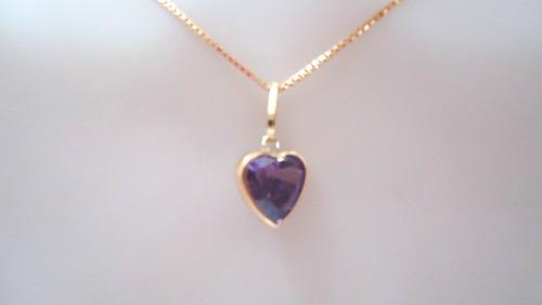 pingente coração pedra zircônia de 6mm luxo de ouro 18k