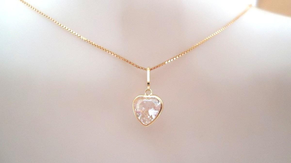 pingente coração pedra zircônia de 7mm luxo de ouro 18k. Carregando zoom. 27cc869001