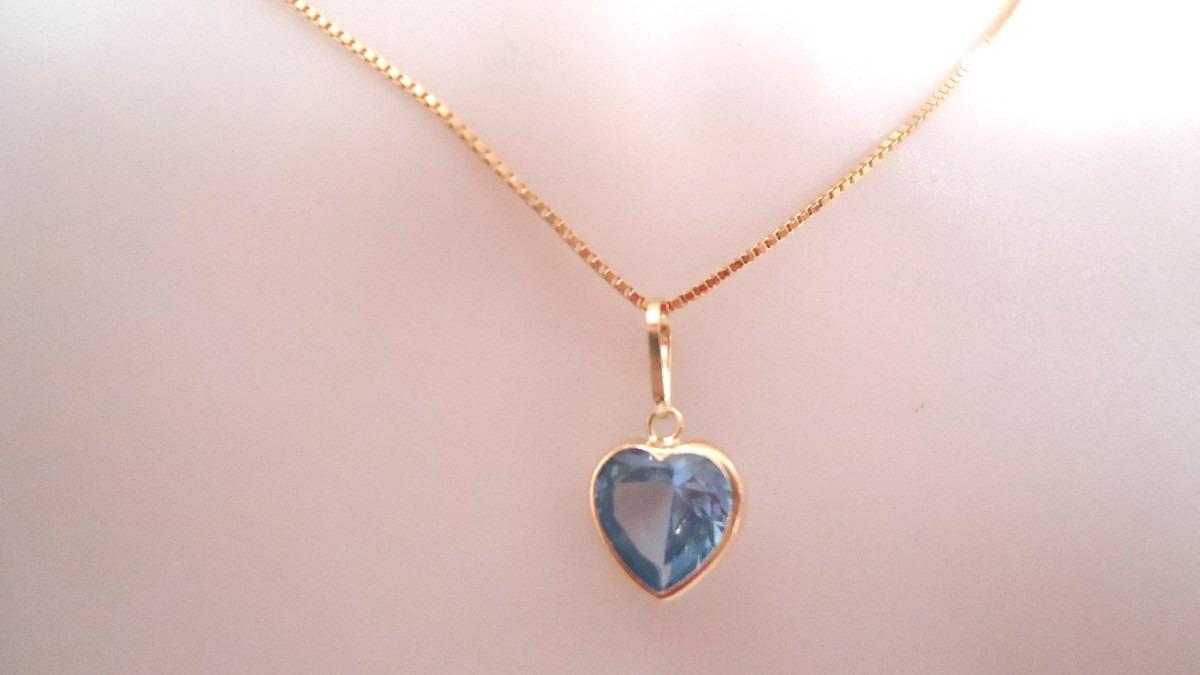 pingente coração pedra zirconia azul joia ouro 18k da kgshop. Carregando  zoom. abfd4911a2