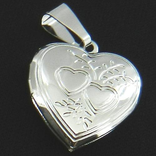 pingente coração relicario 2cm folheada prata pi168
