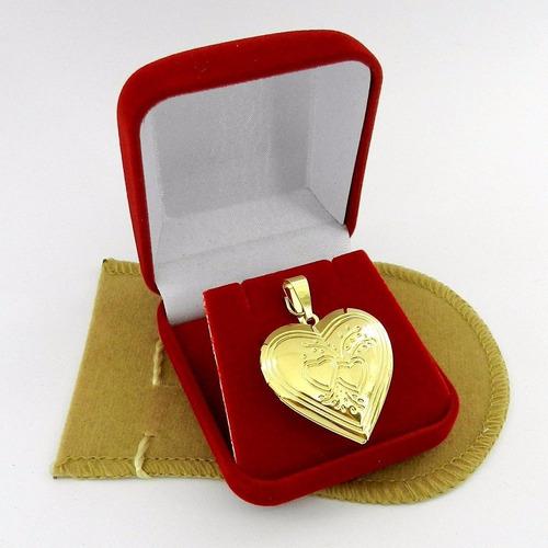 pingente coração relicario 3cm folheado ouro pi144