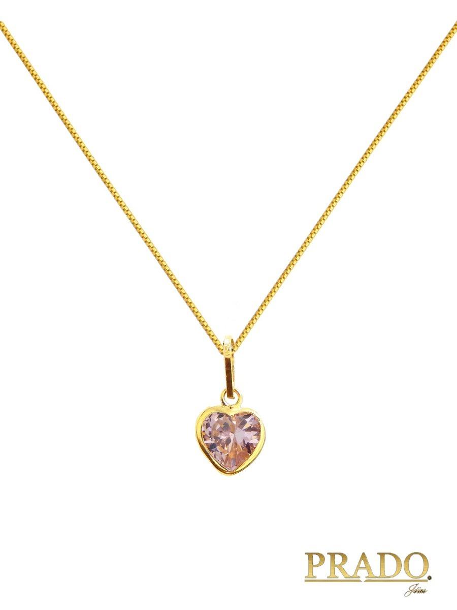 9e4ee6fa79b69 Pingente Coração Rosa + Corrente Veneziana Ouro 18k - R  310