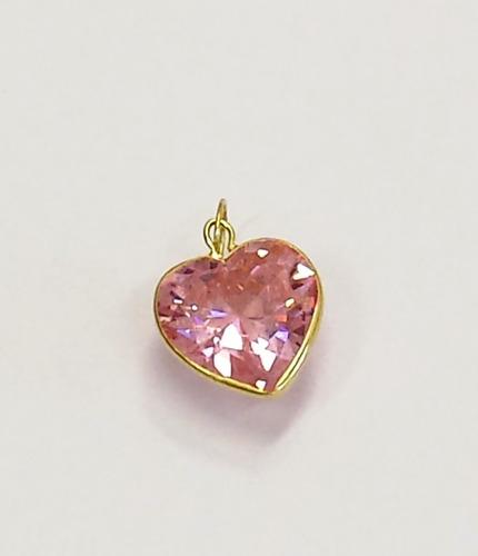 pingente coração zirconia rosa, ouro 18kt