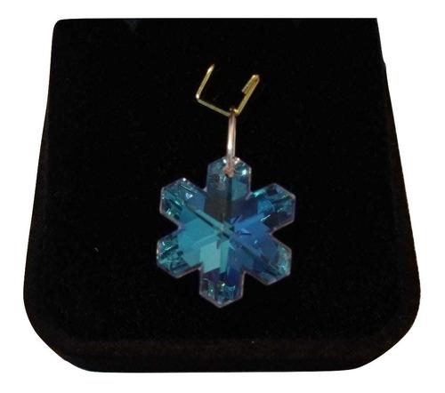 pingente cristal swarovski floco de neve blue ab prata 925