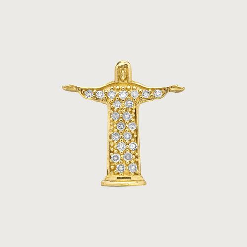 pingente cristo redentor em ouro 18k(750). com diamantes.