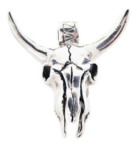 pingente crânio de boi em prata com cordão de 6mm