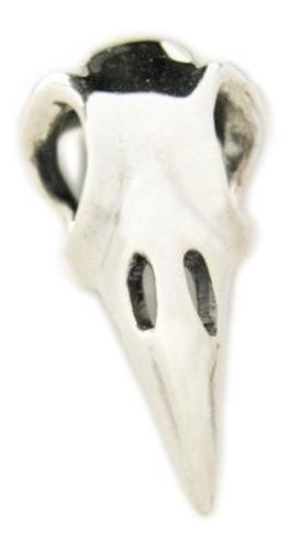 pingente crânio de corvo pequeno em prata