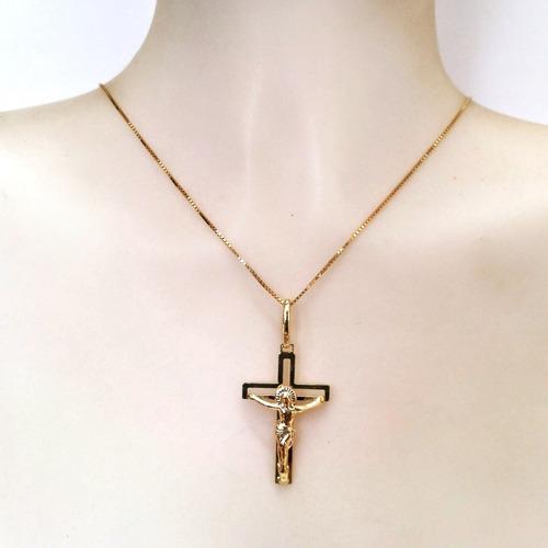 pingente crucifixo de ouro 18k certificado e nota fiscal