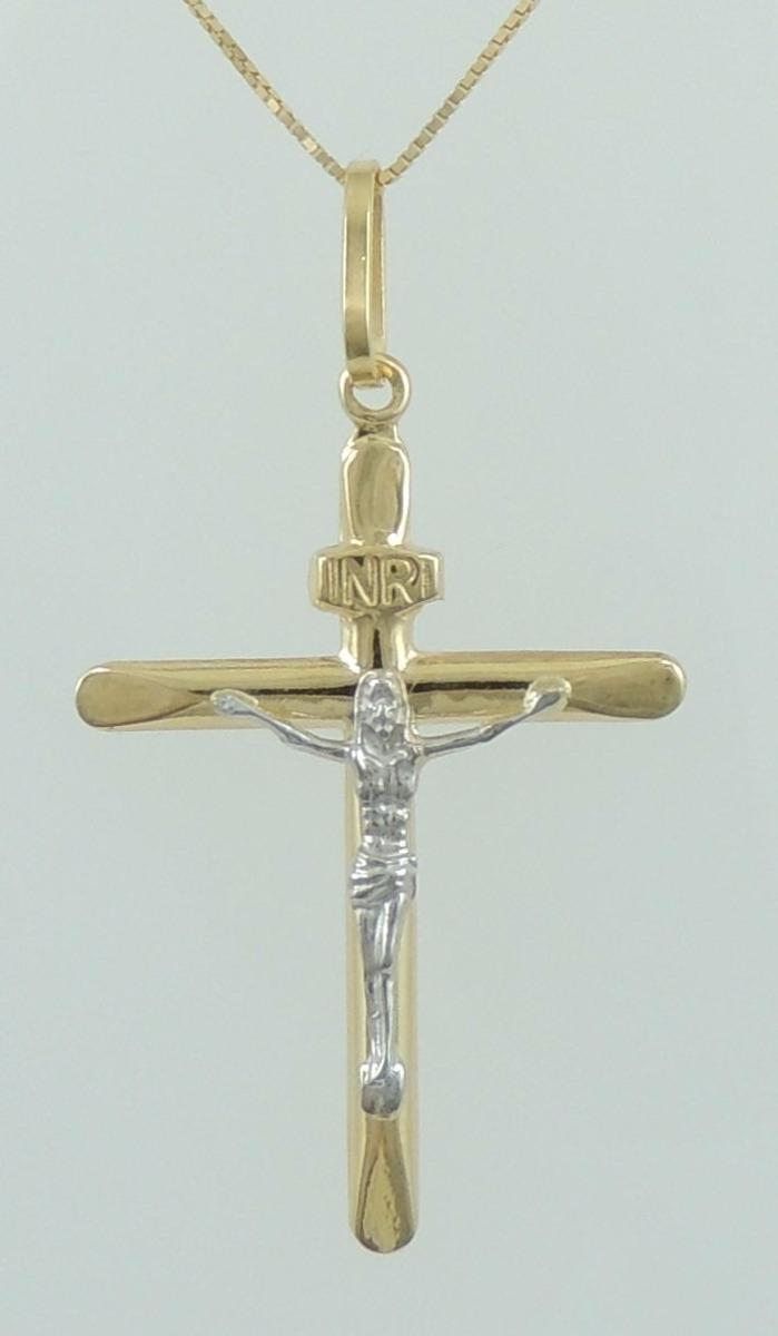 ab9b319f880cb pingente crucifixo detalhado ouro branco e amarelo 18k 750. Carregando zoom.