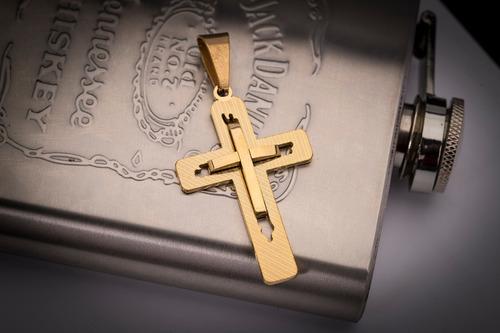 pingente crucifixo p/ corrente aço inox j-319 banhado ouro