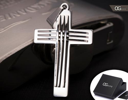 pingente crucifixo p/ corrente aço inox j-326 prateado