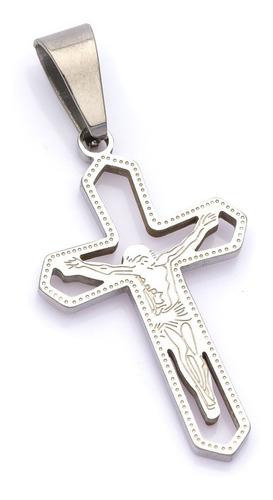 pingente crucifixo p/ corrente aço inox j-328 prateado