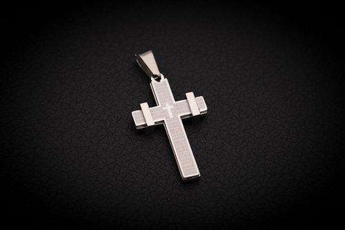 pingente crucifixo p/ corrente aço inox j-331 prata