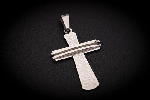pingente crucifixo p/ corrente aço inox j-332 prata