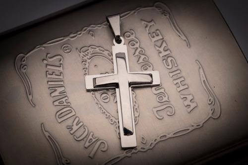pingente crucifixo p/ corrente aço inox j-333 prata