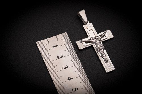 pingente crucifixo p/ corrente aço inox j-334 prata