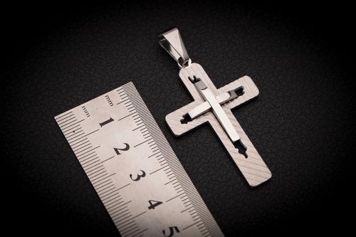 pingente crucifixo p/ corrente aço inox j-336 prata