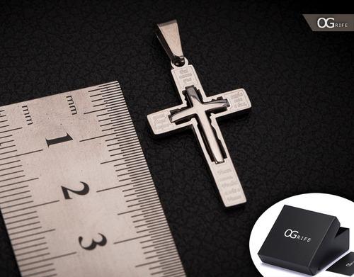 pingente crucifixo p/ corrente aço inox j-338 prata