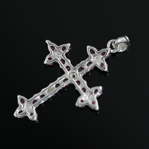 pingente crucifixo prata 925 + ródio + zircônias cravejadas