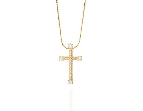 pingente cruz 28 zircônias (total) ouro rommanel