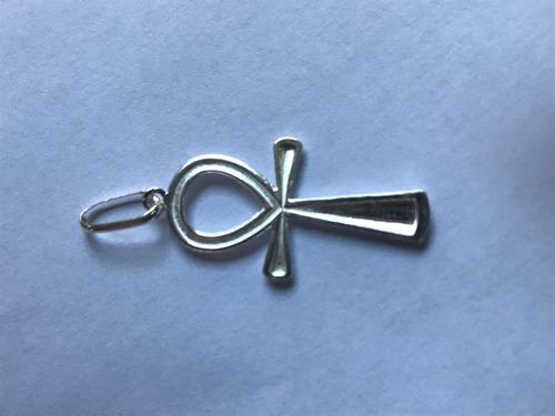pingente cruz ansata ankh prata 925 c/ caixa veludo