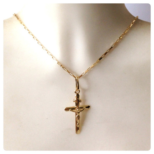 pingente cruz com cristo masculino e feminino de ouro 18k