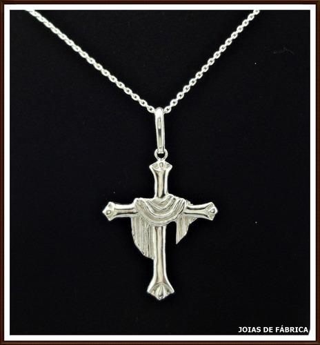 pingente cruz com manto, prata 950
