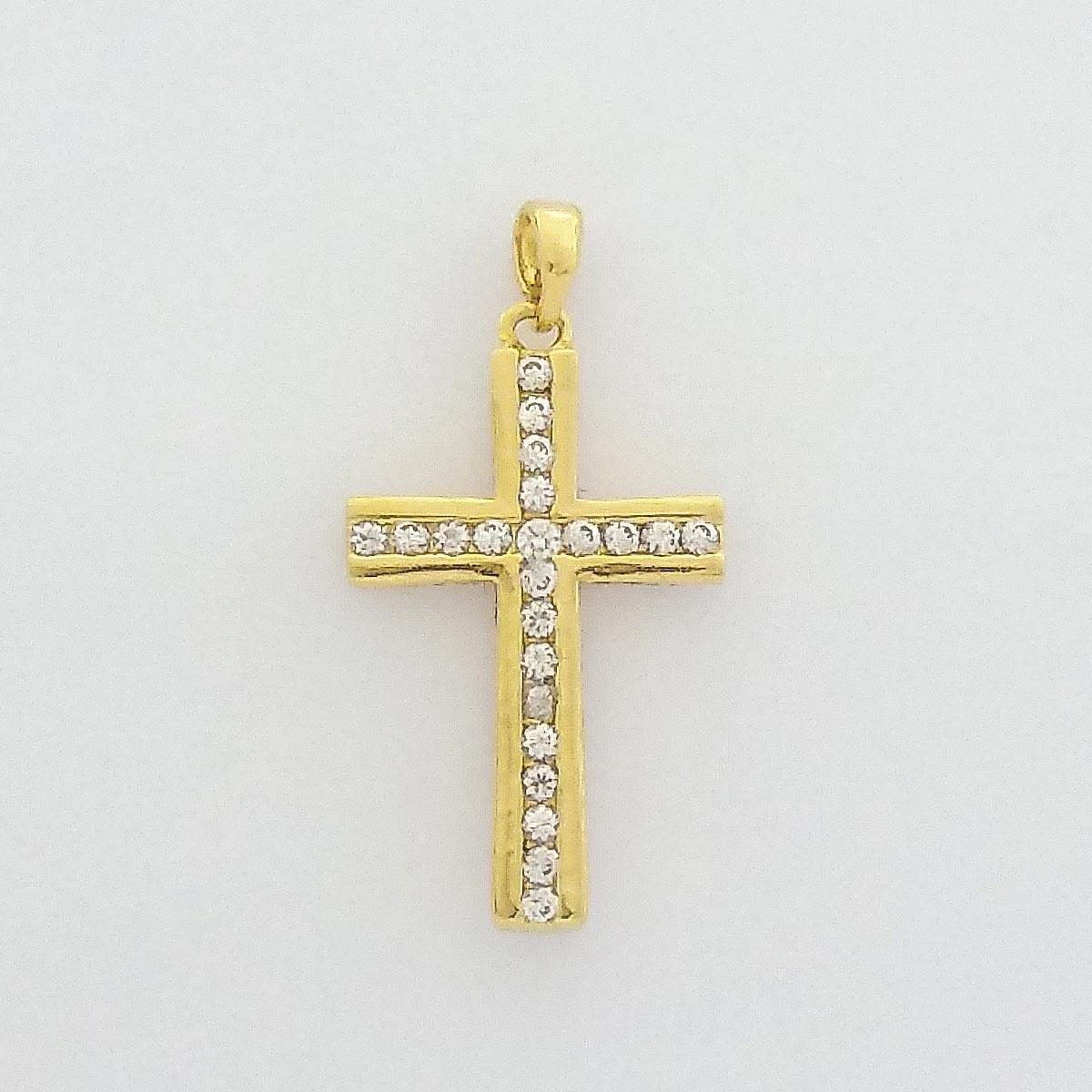 Pingente Cruz Cravejado De Zircônia Banhado A Ouro - R  80,39 em ... 6ed8f52893