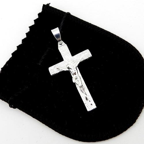pingente cruz cristo 45mm folheada prata pi167